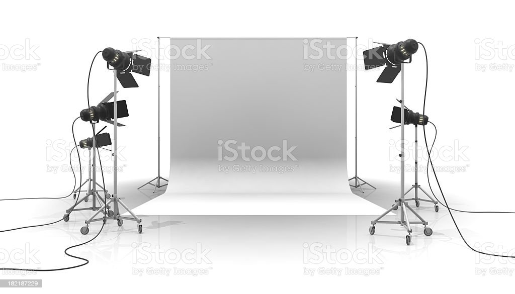 A photo studio with white background stock photo