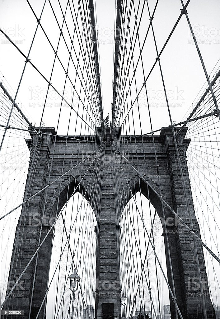 Photo taken between support cables on Brooklyn Bridge royalty-free stock photo