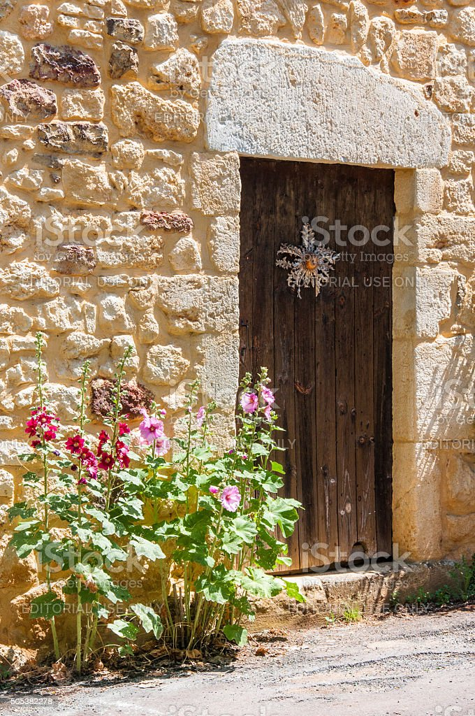 Photo traditional wooden door in stone wall with hollyhock flowers stock photo