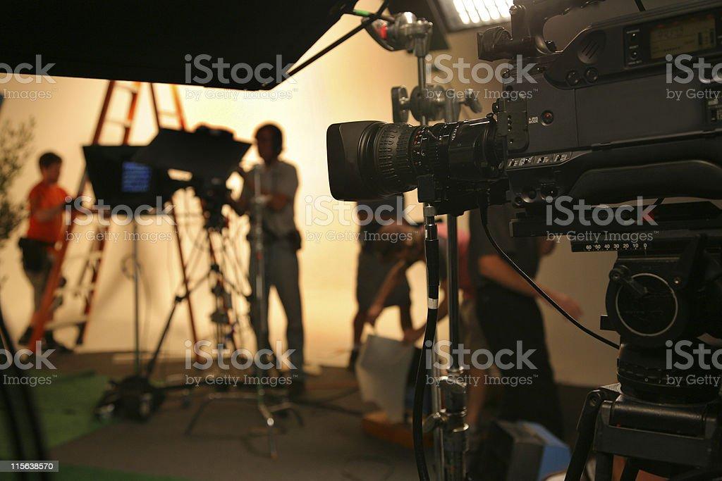 Photo TV Studio crew with camera stock photo