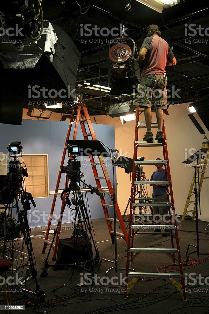 Photo TV studio lighting crew 1 stock photo