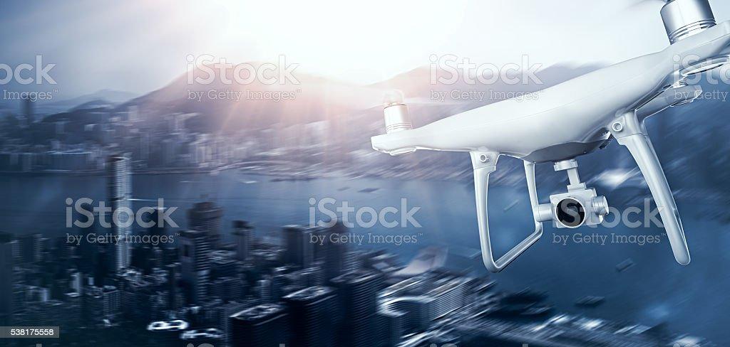 Photo White Matte Generic Design Remote Control Air Drone with stock photo