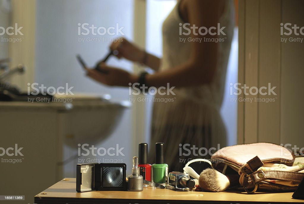 Photo with make up items as the main focus stock photo