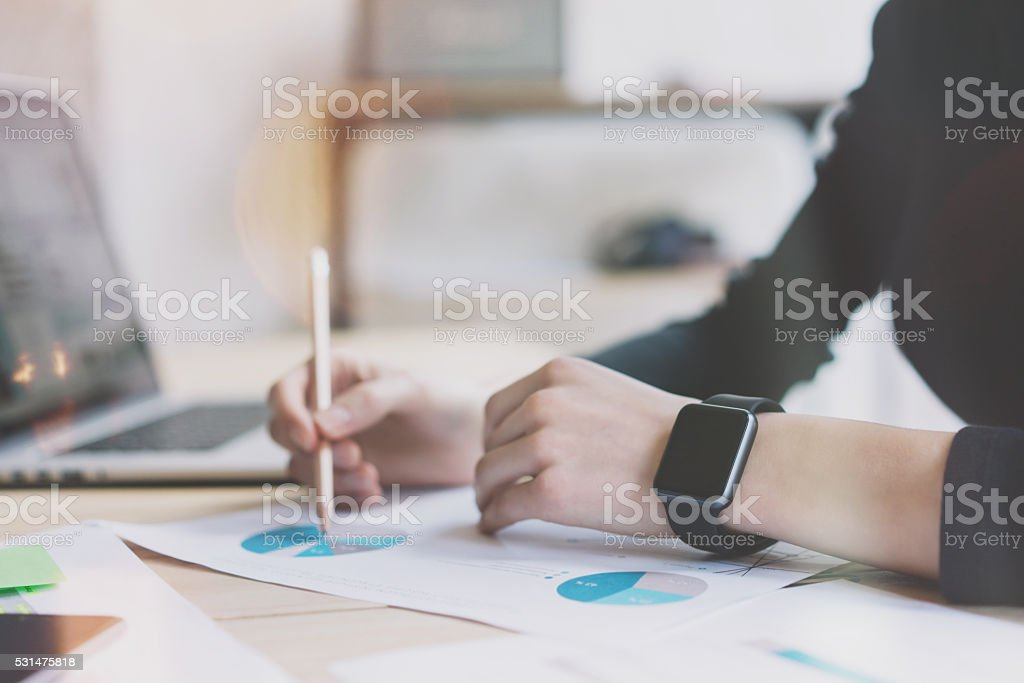Photo Woman Working Modern Office.Girl Wearing Generic Design Smart stock photo