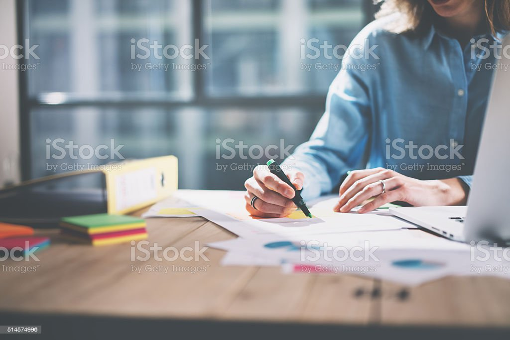 Photo young architect work concept. Woman working with new startup stock photo
