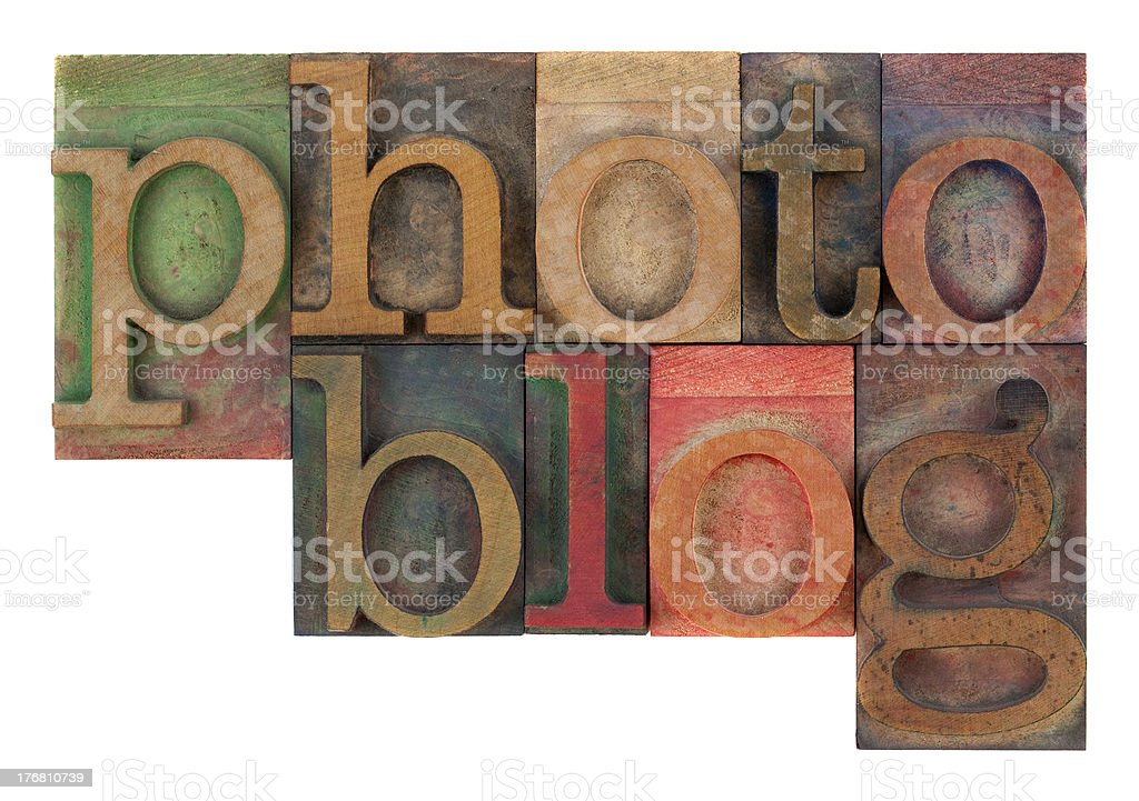 photoblog in letterpress wooden type royalty-free stock photo