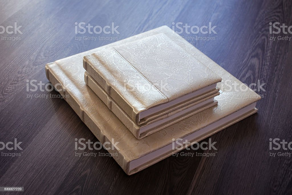 Photobook swith a cover of genuine leather stock photo