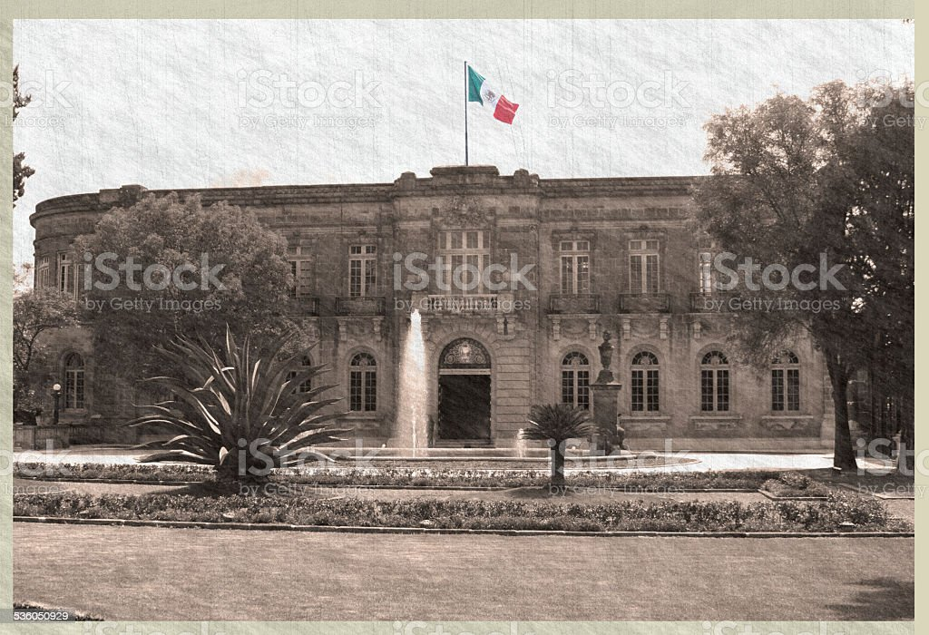 photoChapultepec Castle in sepia with mexican Flag in colors stock photo