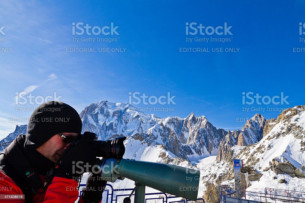 Photograaphing Mont Blanc Massif stock photo