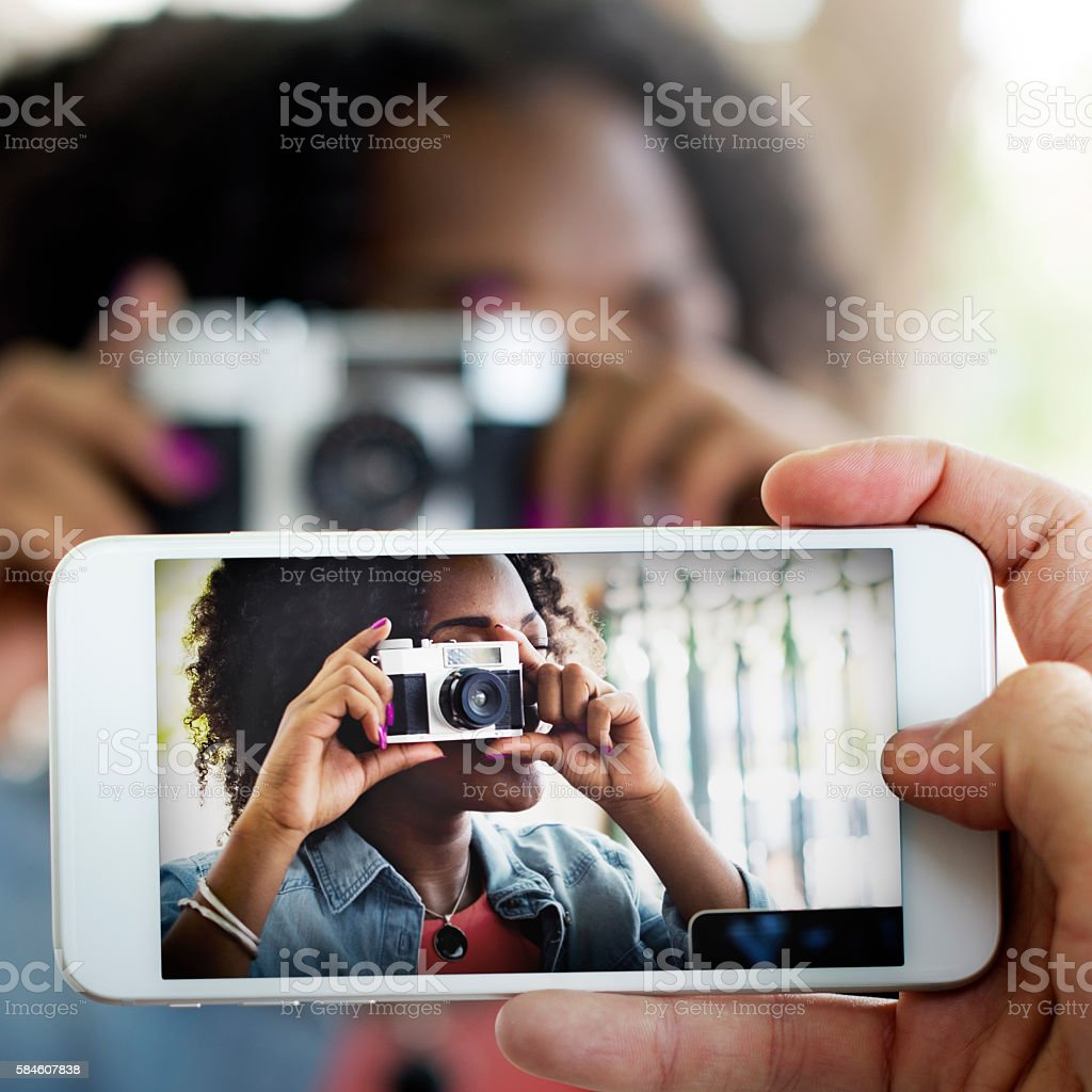 Photograph Camera Telephone Capture Technology Concept stock photo
