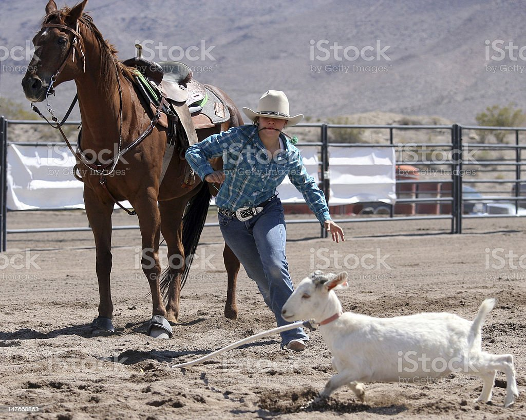 Photograph Cowgirl Rodeo Sport Goat Roping royalty-free stock photo