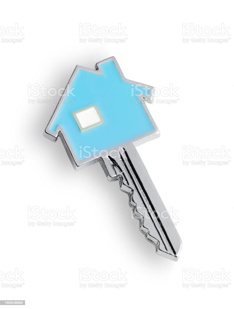 Photograph of a blue and silver house key stock photo