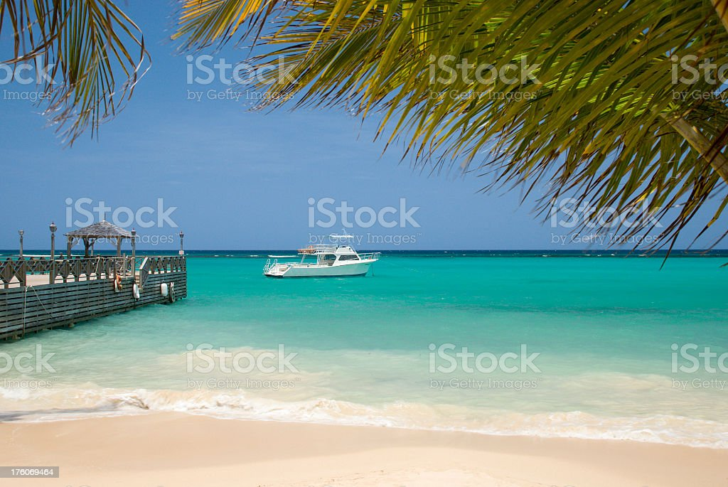 A photograph of a Carribean beach and bright blue sea royalty-free stock photo