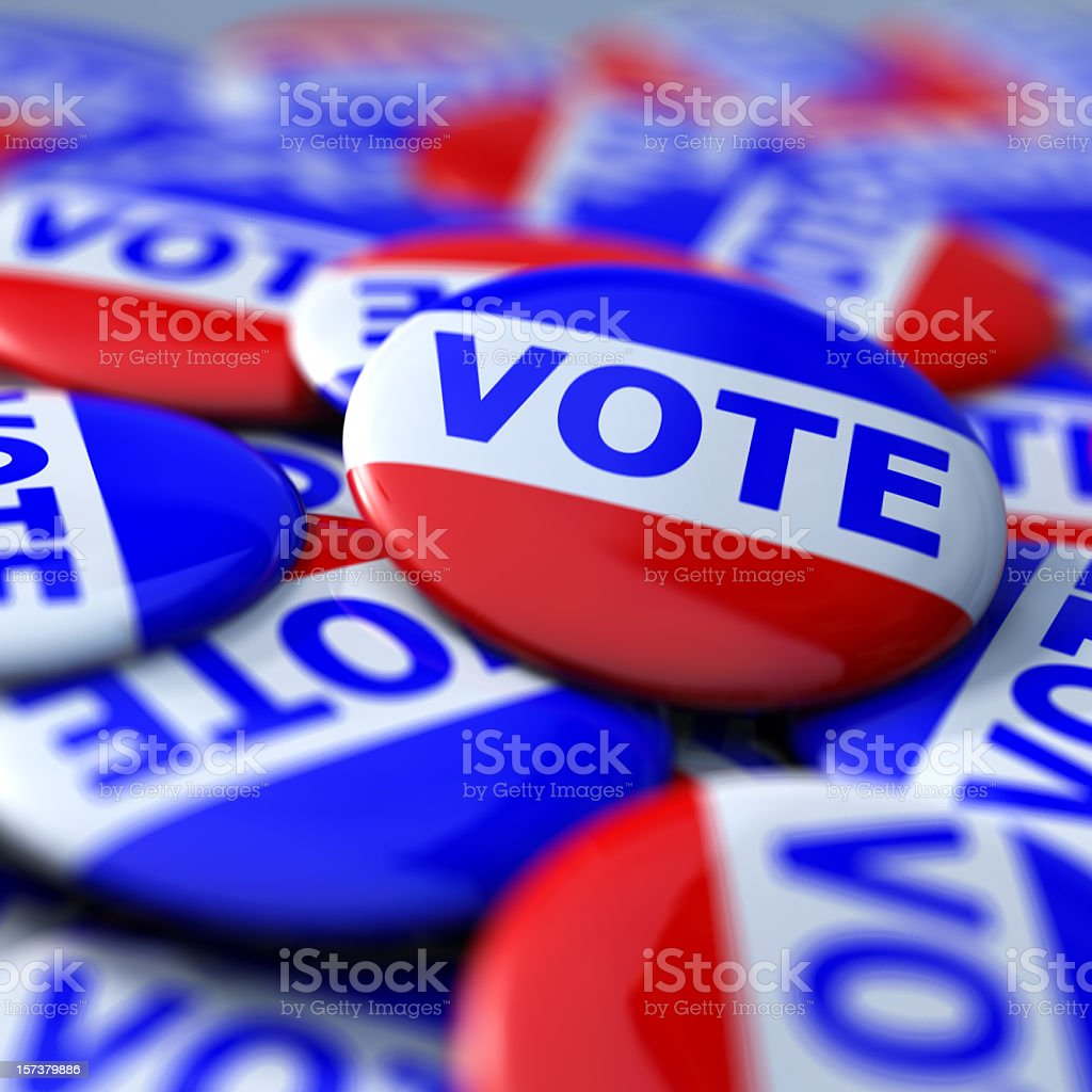 Photograph of a collection of vote badges stock photo