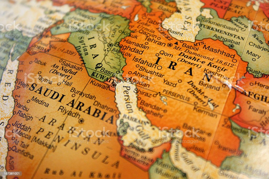 A photograph of a map of the Middle East stock photo