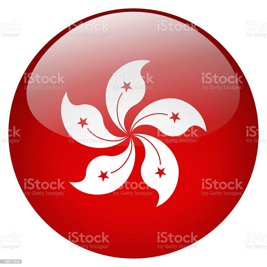 A photograph of a red Hong Kong button with a flower motif stock photo
