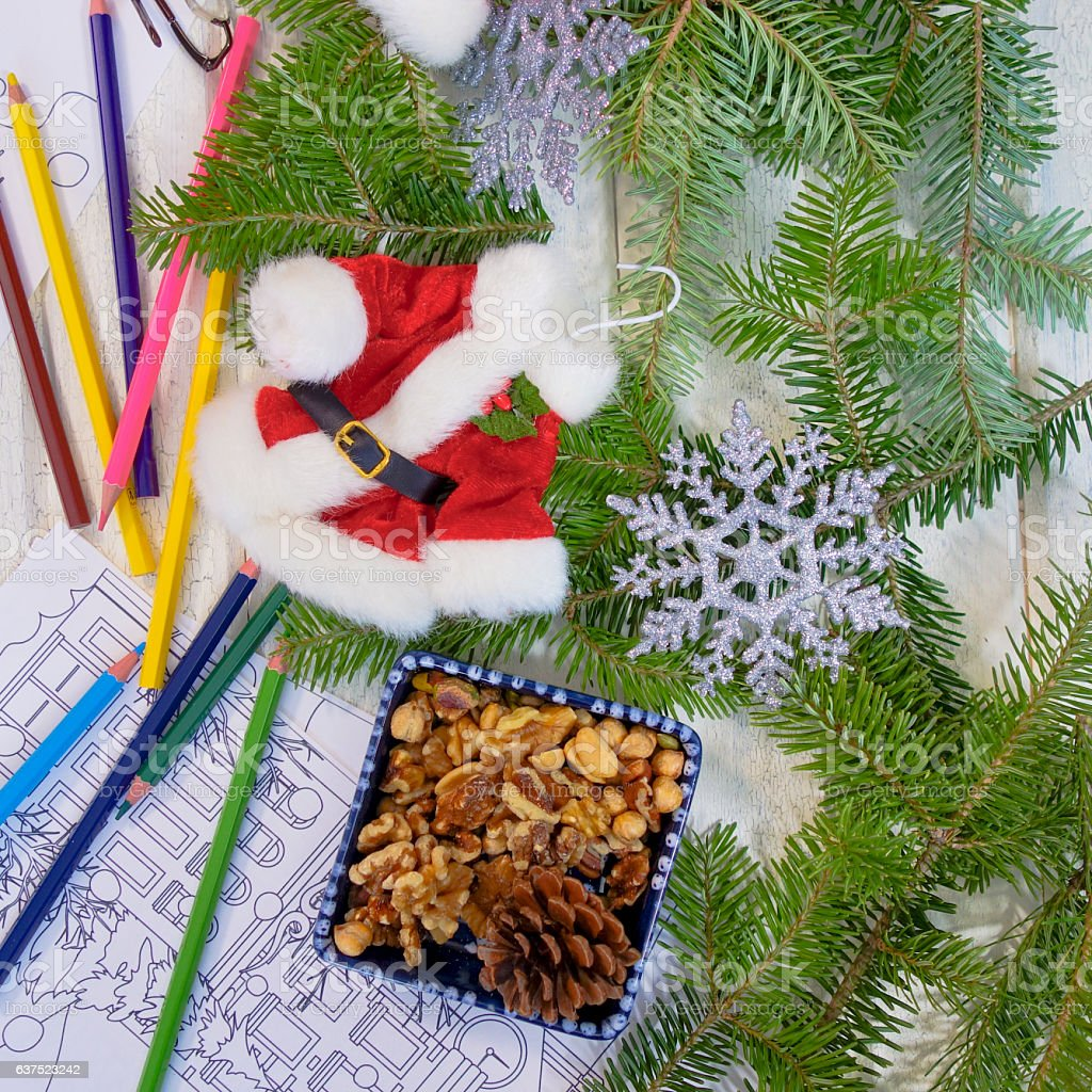 Photograph of Adult Coloring Book Page with Christmas Arrangement stock photo