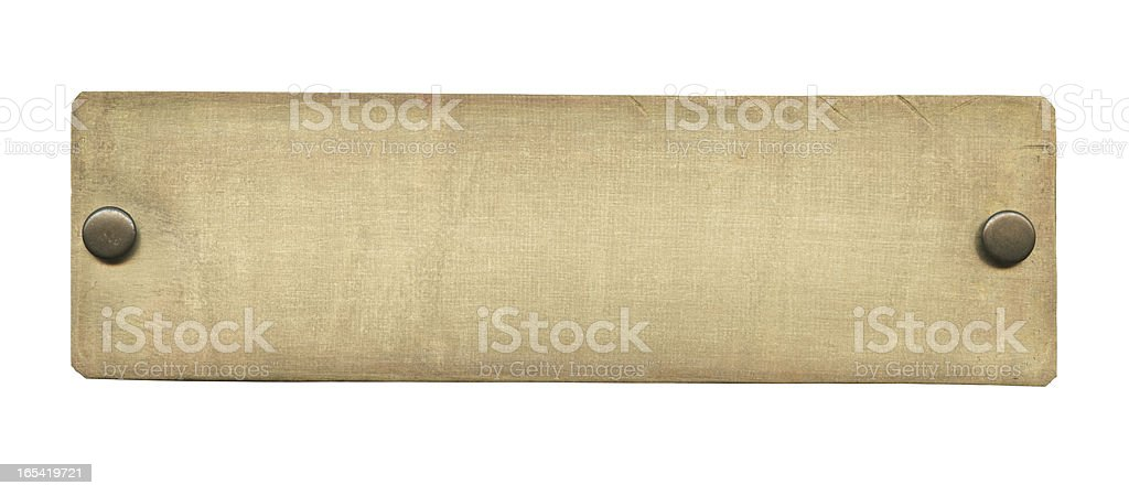 A photograph of an old rectangular brass plate stock photo