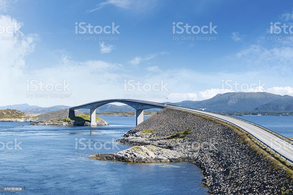 Photograph of Atlantic Road in Norway on a clear day stock photo