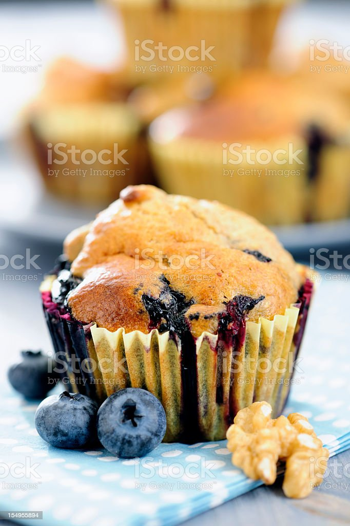 Photograph of blueberry muffins, fresh berries and a walnut royalty-free stock photo