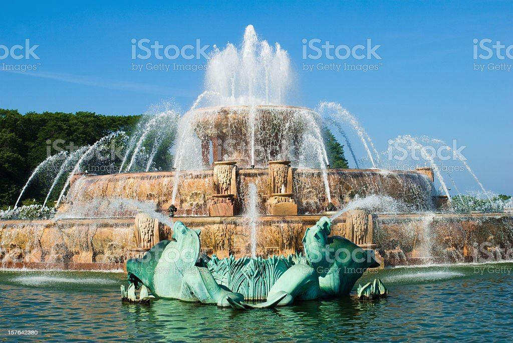 Photograph of Buckingham Fountain in Chicago's Grant Park stock photo