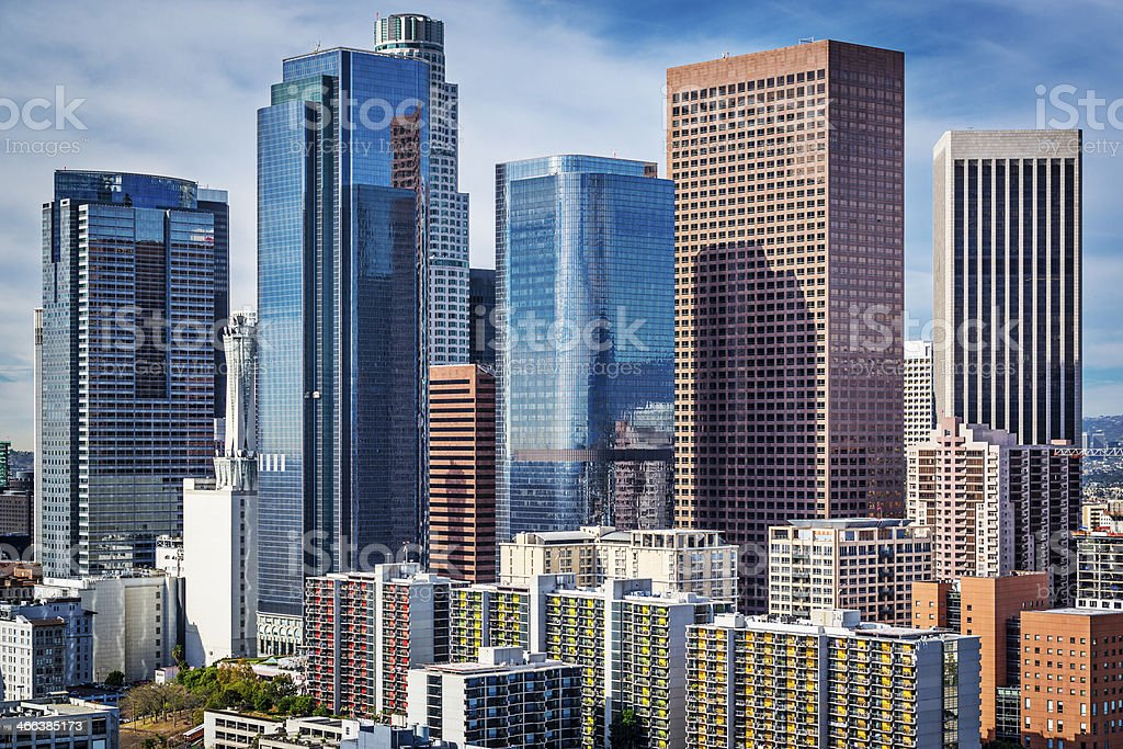A photograph of Downtown Los Angeles, in California stock photo