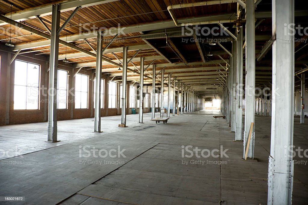 Photograph of empty warehouse interior royalty-free stock photo