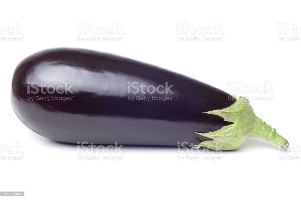 Photograph of fresh single eggplant on a white background royalty-free stock photo