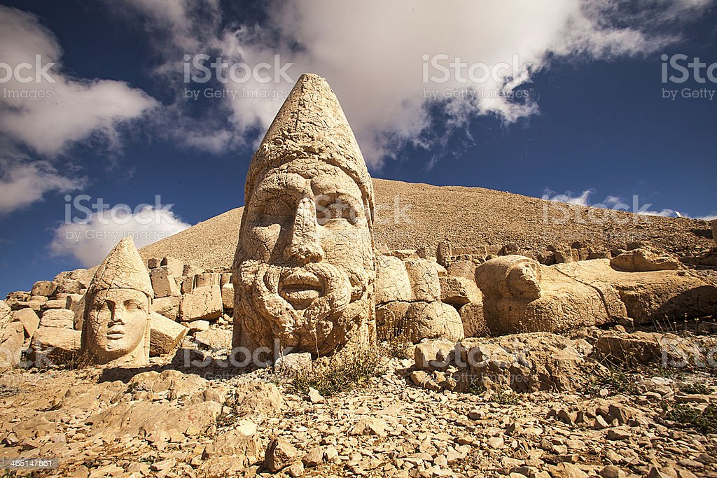 Photograph of large statues in Nemrut stock photo