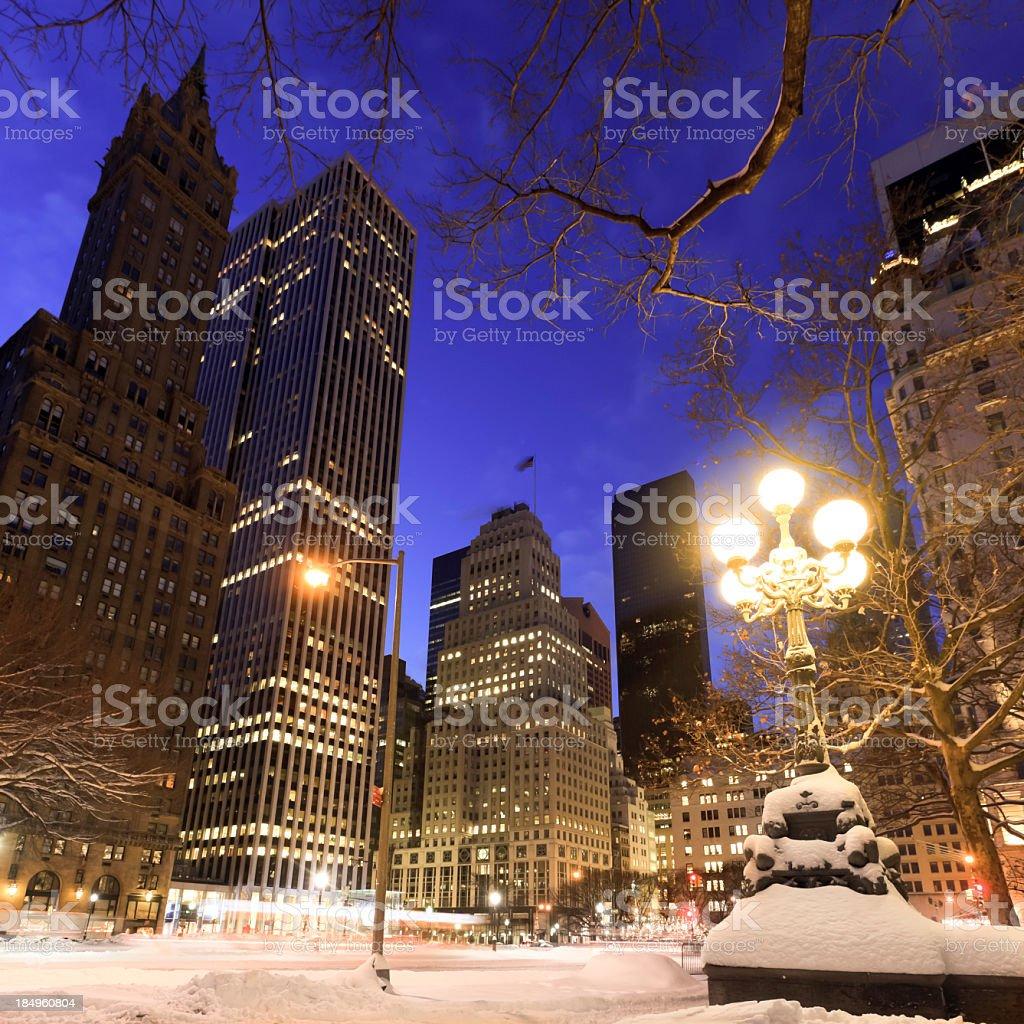 Photograph of midtown Manhattan at night royalty-free stock photo