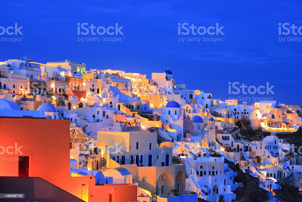 Photograph of Oia village on Santorini island at night royalty-free stock photo