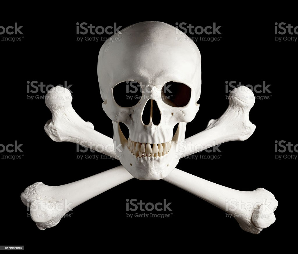 Photograph of Pirate Skull and Crossbones. stock photo