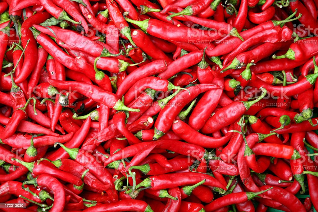 Photograph of red chili peppers stock photo