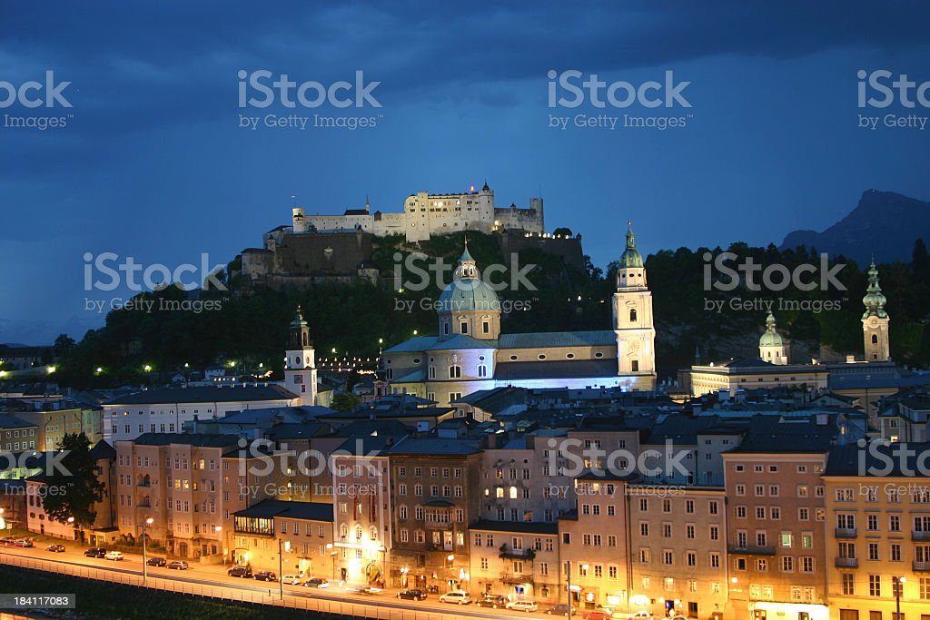 Photograph of Salzburg, Austria at night stock photo