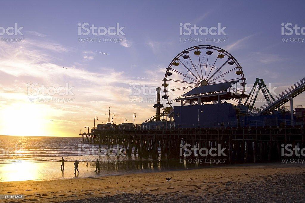 Photograph of Santa Monica beach at sunset royalty-free stock photo