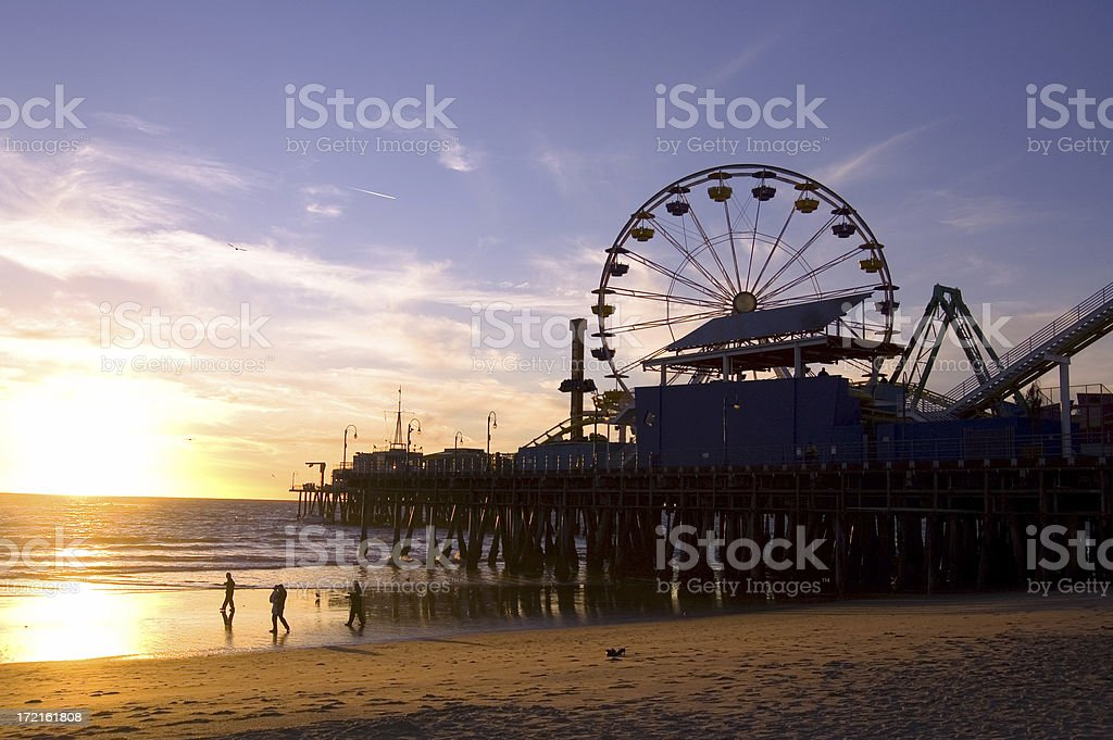 Photograph of Santa Monica beach at sunset stock photo