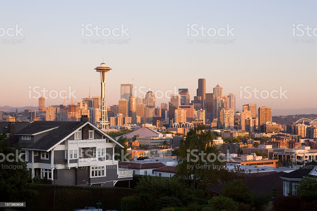 Photograph of Seattle from the outskirts at dusk stock photo
