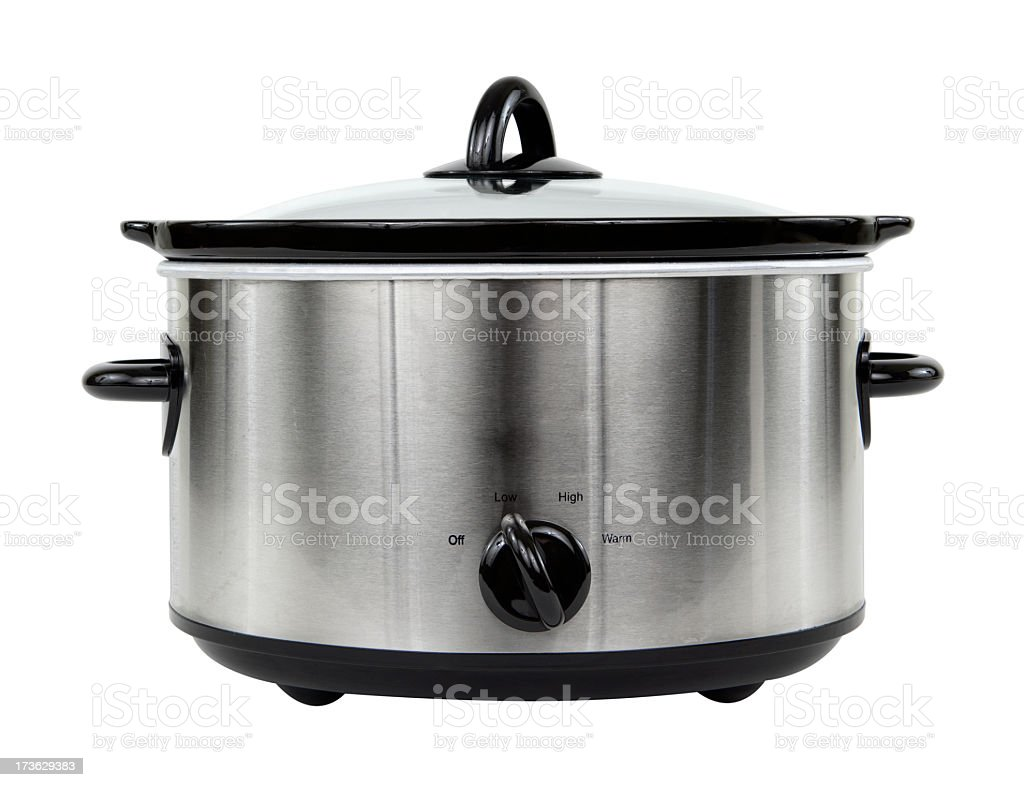 Photograph of silver crockpot isolated on white background stock photo