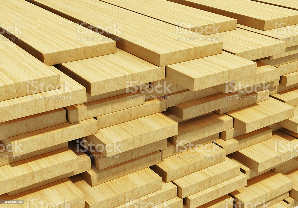 Photograph of stacked wooden planks stock photo