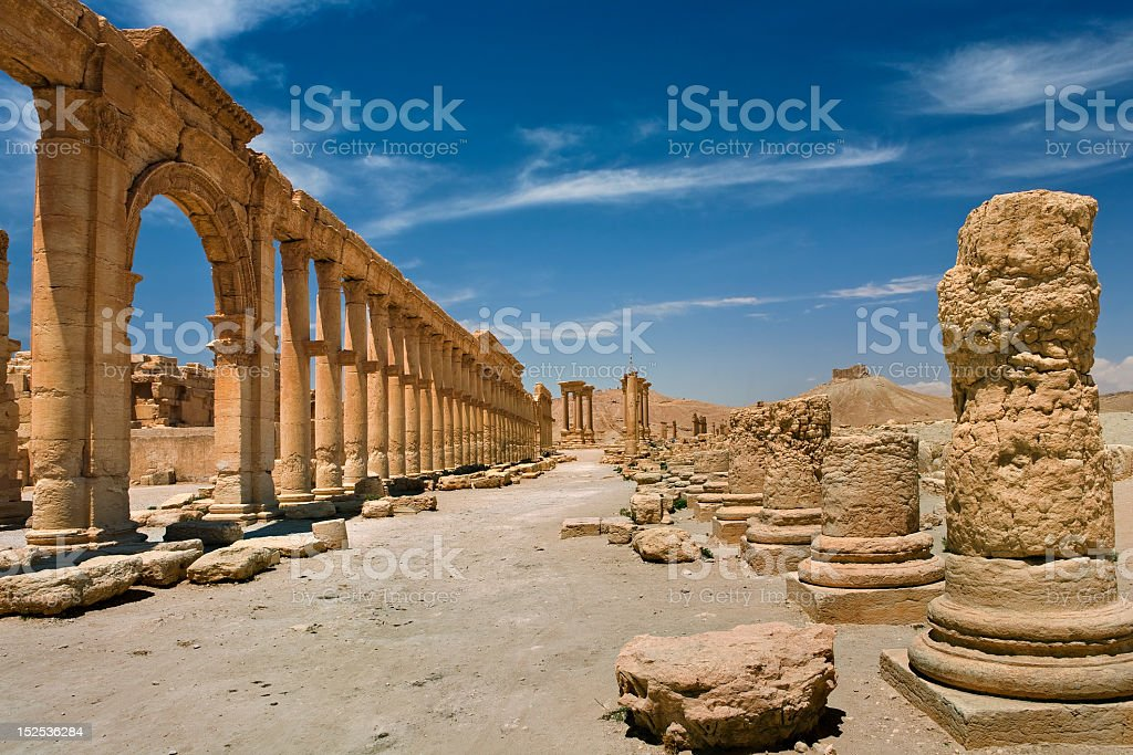 Photograph of the ancient ruins of Palmyra stock photo