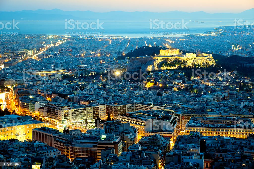 Photograph of the city of Athens at night time stock photo