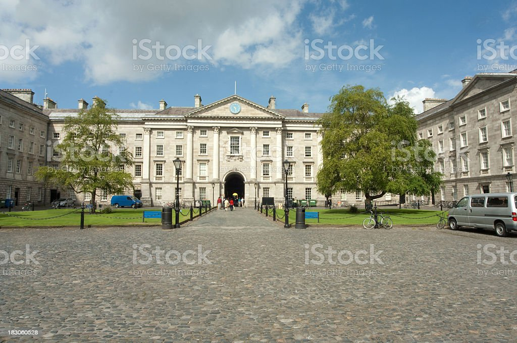 A photograph of the front of Trinity College, Dublin stock photo