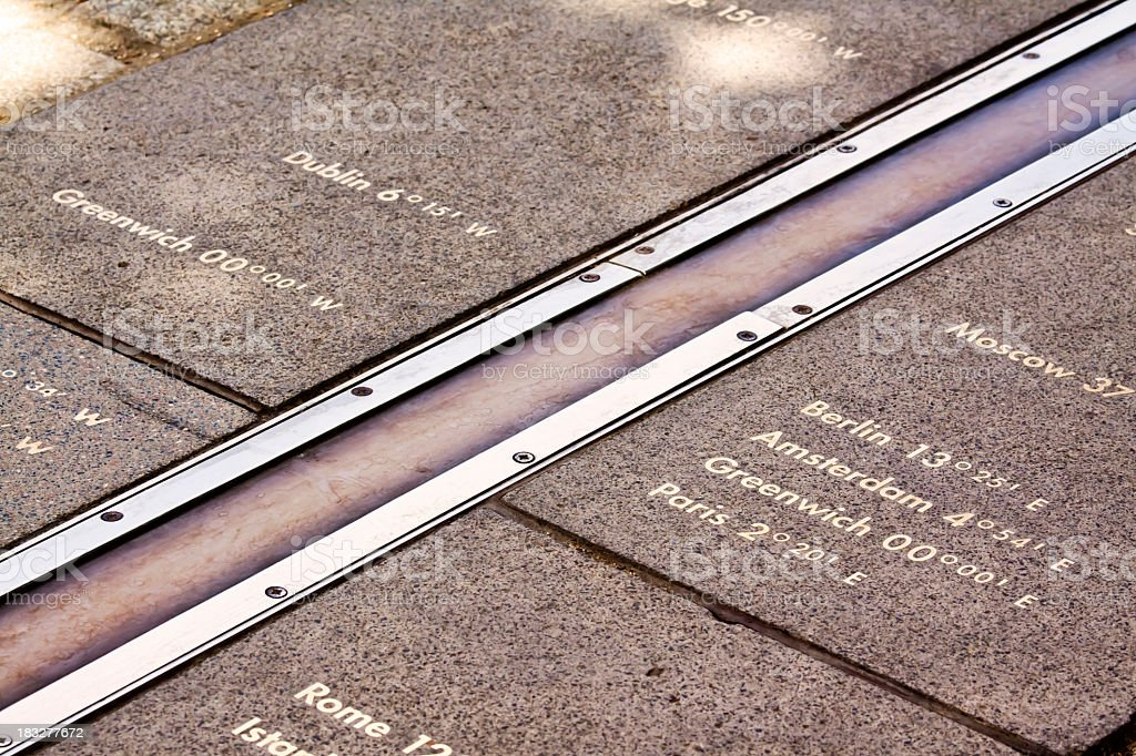 Photograph of the Greenwich Meridian stock photo