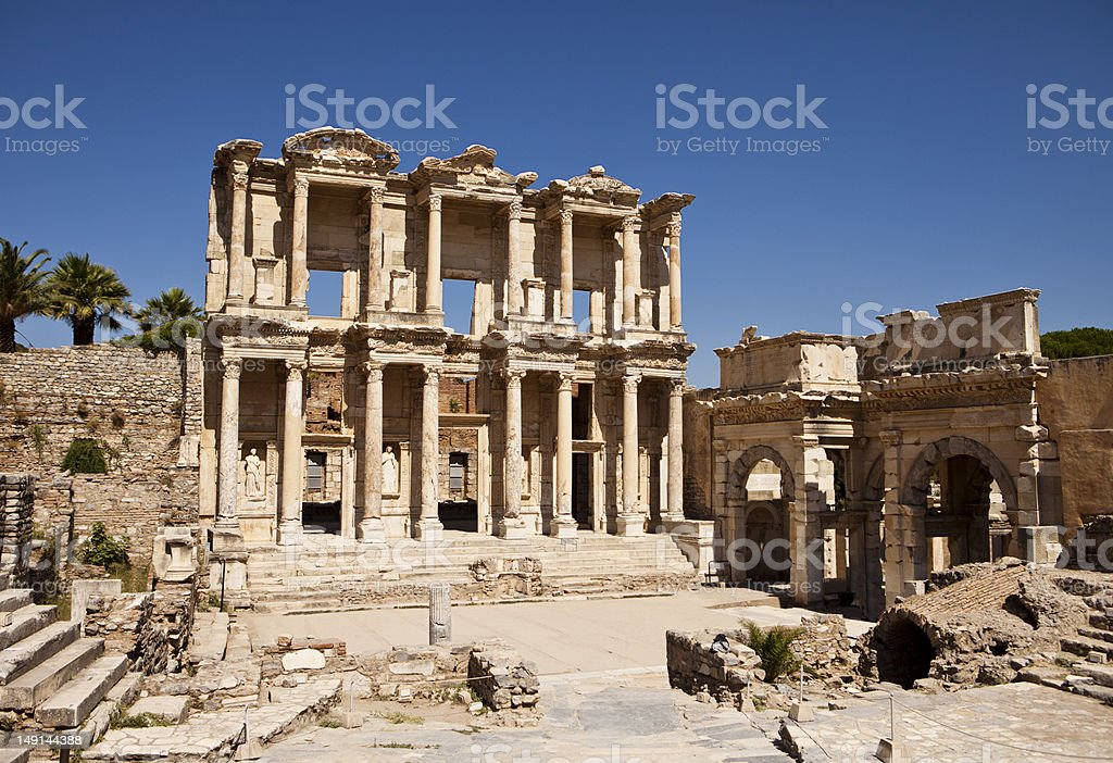 Photograph of the Library of Celsus at Ephesus stock photo