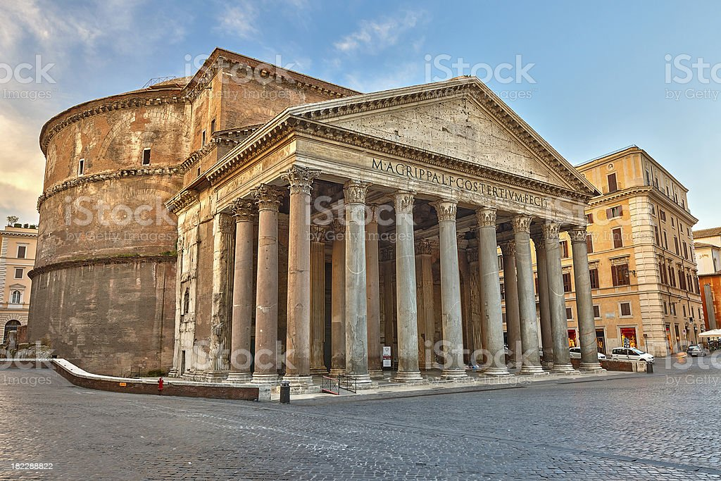 Photograph of the pantheon in Rome, Italy stock photo