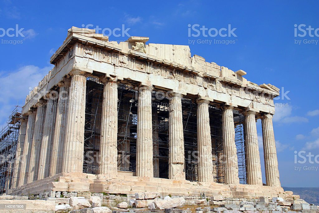 Photograph of the Parthenon with scaffolding stock photo
