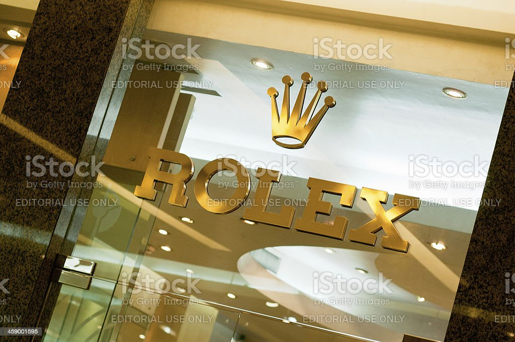 Photograph Of The Rolex Luxury Watch Makers Logo stock photo