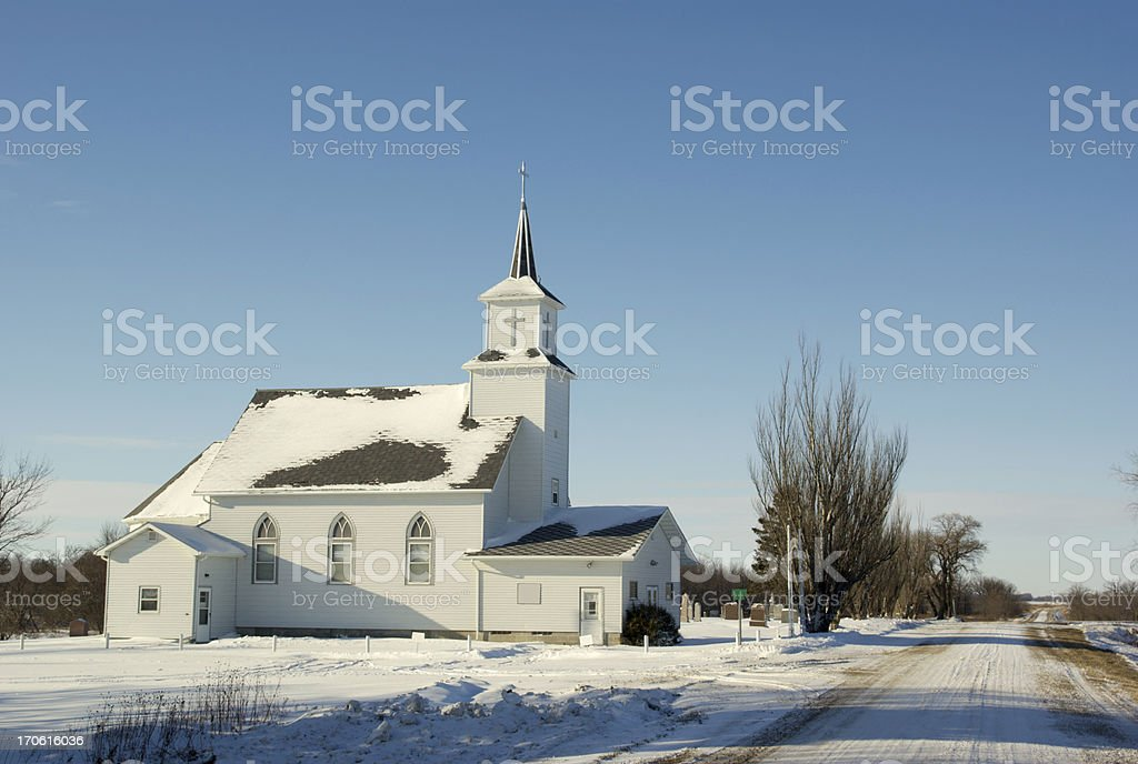 Photograph: Traditional White Country Church-Winter Scene royalty-free stock photo