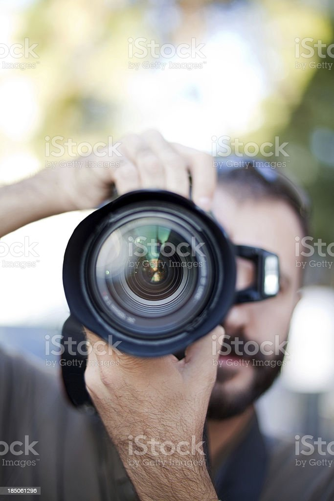 photographer and lens close up stock photo
