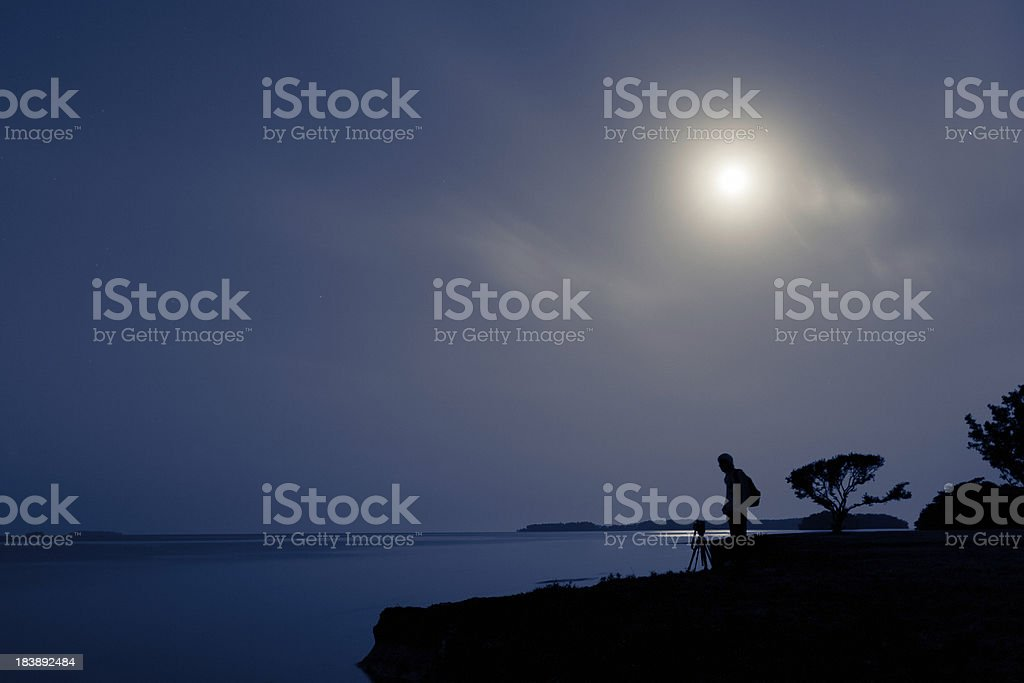 Photographer and Moon royalty-free stock photo